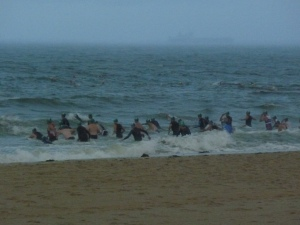 M50+ swim start - spot returning competitors above and on the right