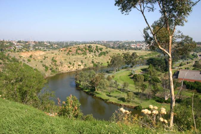 Steels Creek Reserve with the Maribyrnong River and Department of Defense