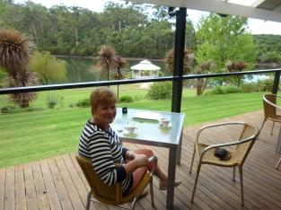 Coffee, later lunch on the deck at Silkwood Winery, Pemberton