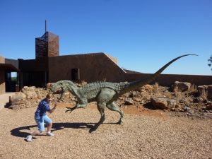 """Banjo"" outside Age of Dinosaurs at Winton."