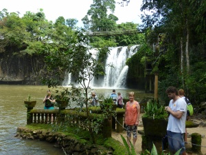 Paronella's falls by day. Swimming was once allowed under the falls but croc fears have closed it.