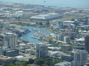Part of CBD, marina, and commercial terminal from Castle Hill lookout.