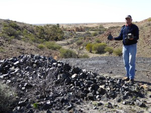 Slag pile at the Copper Mine, Peake Station......homestead ruins in the background