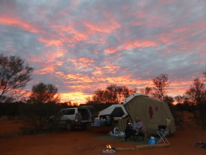 Sunset at our bush camp at Lamberts Centre