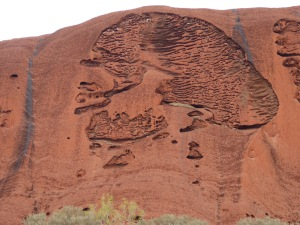 Distant shot of a small part of Uluru on the base walk