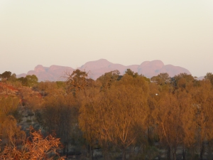 The Olgas in the distance at sunrise