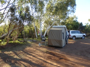 Camp at Carawine Gorge, right on a permanent waterhole with beautiful green grass