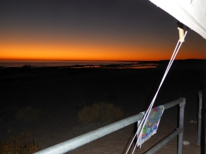 "Sunset from our ""verandah"" at Cape Keraudran, north of Port Headland"