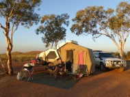 Fantastic freedom camp with the crater rim in the background....as the sun departs.