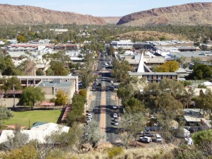 "Alice Springs with the famous ""gap"" in the background"