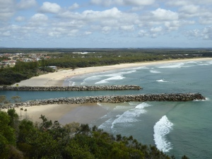 Lookout above the estuary entrance at Evans Head, with Surf Clubrooms in view. The CP is behind the trees to the left of the clubrooms.