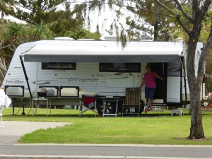 Our van on site at Corindi Beach