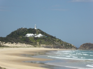 Seal Rocks lighthouse from a different beach