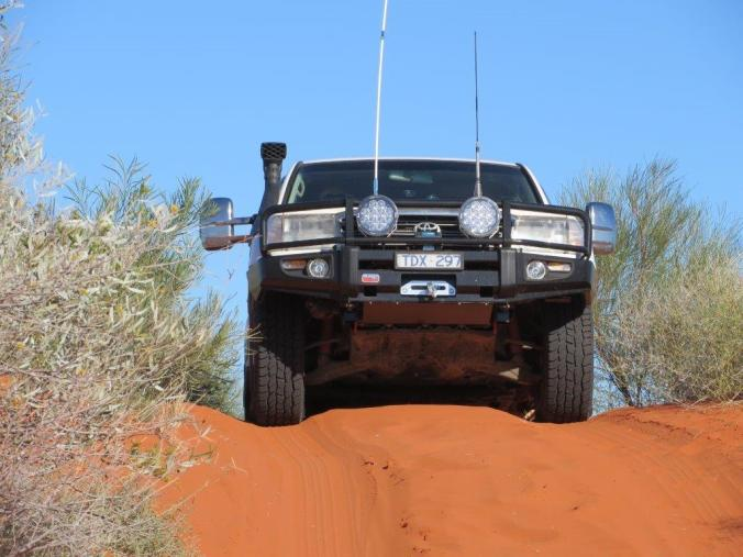 Cresting a dune. You can't see the track ahead