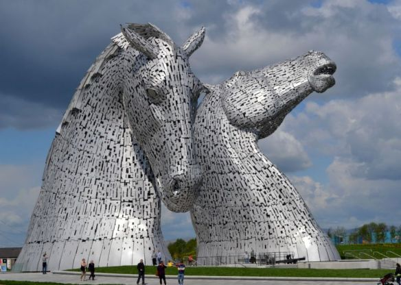 """The Kelpies"" - 99 foot tall stainless steel sculptures located on either side of the Forth & Clyde canal - Falkirk"