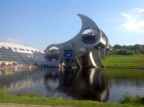 """The Falkirk Wheel"" - the rotating boat lift on the Forth & Clyde canal which raises (& lowers) boats by 24 metres."