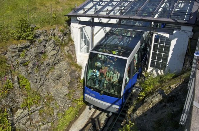 Funicular railway, Bergen. Travel to the top of Mt Floyen, 850 metres in length, 300metres high.
