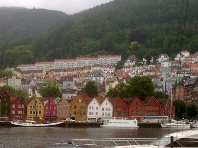 View from our hotel. The Bryggen (Norweigian for wharf). A series of Hanseatic buildings lining the side of the fjord, Bergen.