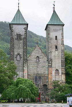 St Mary's, Bergen. Stared in 1130 & completed around 1180. The oldest building in Bergen.