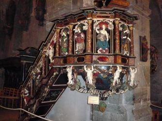 Ornate pulpit, St Mary's, Bergen