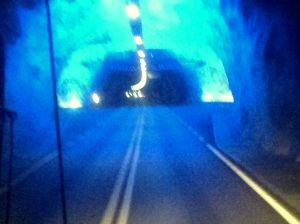 24.5 kilometre tunnel, the longest land tunnel in the world. There are three sections coloured to mimic a sunset to help keep drivers awake. We travelled through a total of 144 tunnels in Scandinavia.