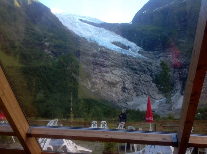 View from our morning tea table to the glacier which only 20 years ago was touching the glacial pool just outside the window of the cafe.