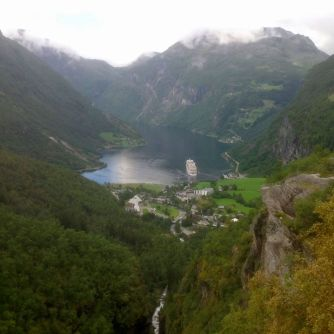 View down to the Geiranger Fjord where we stayed on the edge of the fjord. Thankfully that big cruise ship was only there for about 6 hours after we arrived, then it was just the beauty of the fjord.
