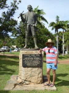Captain Cook memorial on the waterfront near where he completed repairs to the Endeavour