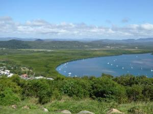 Cooktown, with Captain Cooks landing site for repairs in 1770 on lhs shore