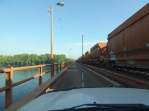 Crossing the wide river at Weipa with an ore train, whilst heading north to Mapoon.