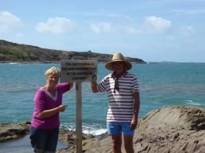 Two intrepid and happy adventurers at the northernmost point of the mainland. One small step etc !!!