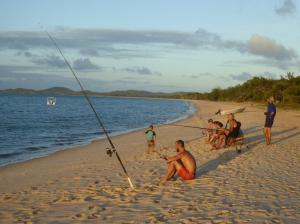 Sunset on the beach at Punsand Bay. Some good size Queenfish caught during our 4 day stay.