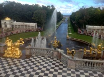 Fountains and canal leading to he Baltic Sea, Peterhof