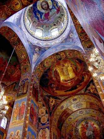 Highly decorated interior. Over 7,500 square metres of mosaics in the church