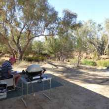 Free camp on the banks of the Bulloo river at Quimpie.