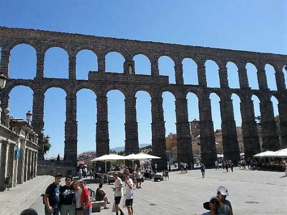 Ancient Roman viaduct at Segovia - Spain.