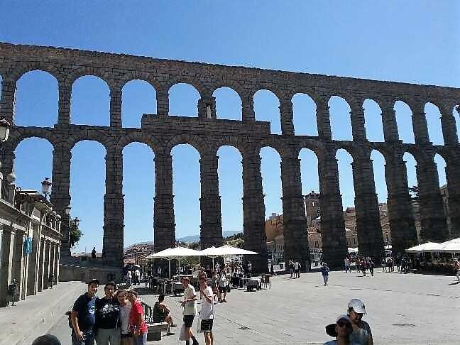 Ancient Roman viaduct at Segovia - Spain.